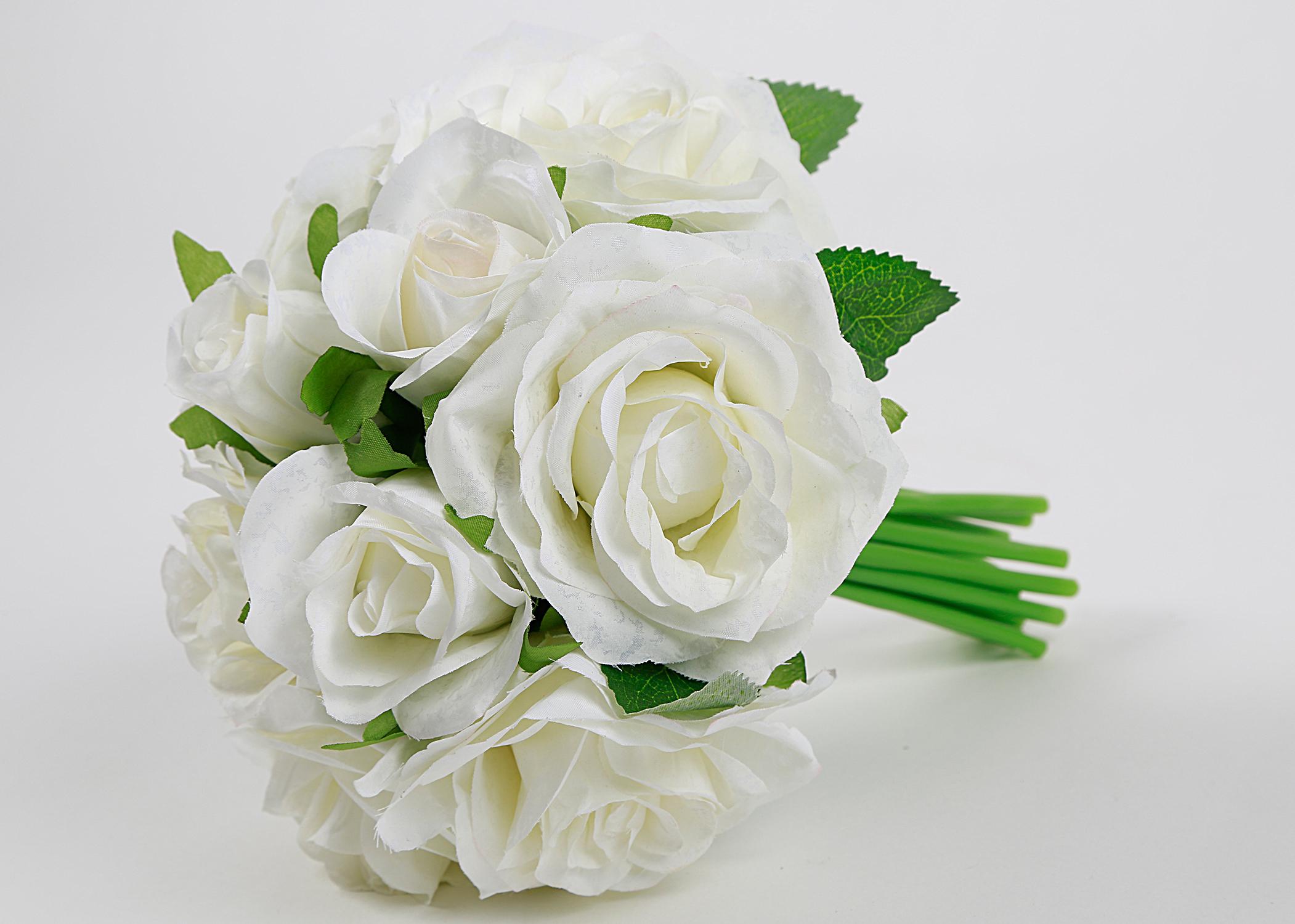 Event Kauf Kunstlicher Blumenstrauss Brautstrauss Rosen Weiss